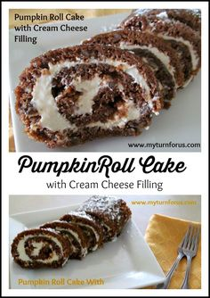 Pumpkin Roll Cake is loaded with pumpkin and pecans and rolled around a cream cheese filling!   http://www.myturnforus.com/2014/09/pumpkin-roll-cake-with-cream-cheese.html