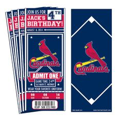 12 St. Louis Cardinals Custom Birthday Party Ticket Invitations - Officially Licensed by MLB