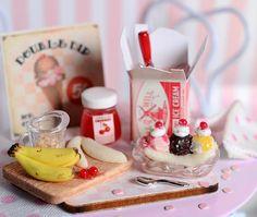 Miniature Making Banana Split Set by CuteinMiniature on Etsy