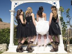 All the bridesmaids can match their cowgirl boots!