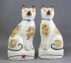 "Pair of Staffordshire Cats c.1860 - 8.5"" tall"
