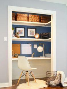 closet desk makeover, closet, home office, painting, storage ideas Home Office Closet, Closet Desk, Office Nook, Guest Room Office, Home Office Space, Small Office, Home Office Design, Home Office Decor, House Design