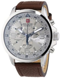 Swiss Military Men's Quartz Watch with Silver Dial Chronograph Display and Brown Leather Strap 6-4224.04.030