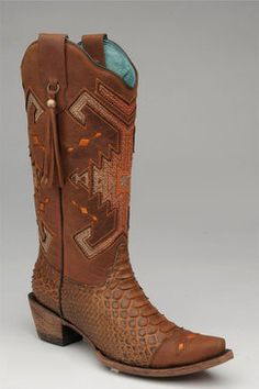 Corral Women's Honey Python Orange Indian Cowgirl Boots