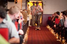 Groom Skateboarding Down The Aisle at a Vintage-Inspired Wedding in Calgary