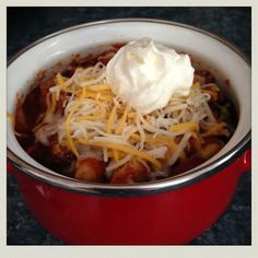 hearty chili with sour cream