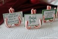 Use mini candy canes for your Christmas party food labels.