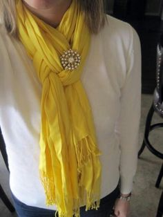 Scarf, pretty idea with the jewellery.