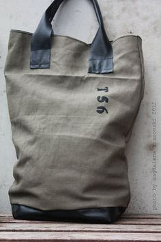 Canvas Leather Tote Handprinted