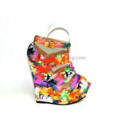 Ψηλή πλατφόρμα φλοράλ 2 Colours, Wedges, Rainbow, Floral, Color, Shoes, Fashion, Colour, Moda