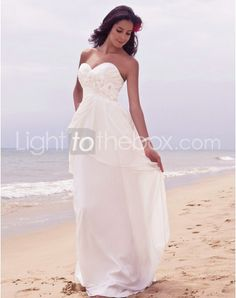 Just as pregnant brides should put on maternity wedding dresses, every bride also ought to pick out their own special and fitted wedding dresses. Here is the Strapless Floor-length Sheath/Column Wedding Dresses With Beading Flowers right for you. Strapless gown with sweetheart pleated asymmetrical bodice, mille-feuille organza full skirt,