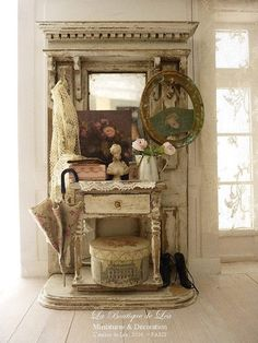 Shabby Roses, Oval frame, Hat box, Paris Opera, furniture French doll house in 1:12th scale