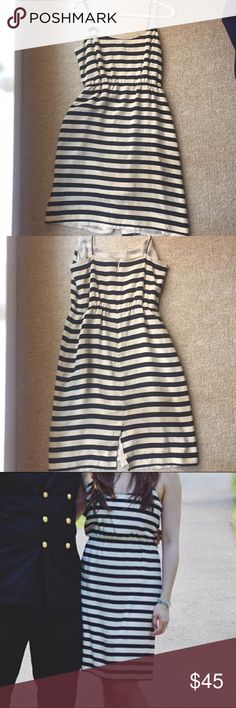 J. Crew 100% Silk Black & White Striped Sun Dress 100% Silk black and white striped dress by J. Crew. Fully lined and runs slightly large so can fit most sizes 0 to 2. Pairs beautifully with colorful heels or casual wedges, with a scarf or jean jacket if you want to dress up or down. Excellent condition! J. Crew Dresses