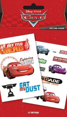 Disney Cars Temporary Tattoos by Disney. $8.99. UK Import. 12 tattoos on 2 sheets. 10x17cm. Official Disney Licensed Product. Cellophane packed packet of temporary tattoos, great for parties!