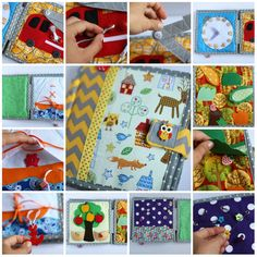 Quiet book chevron 6 pages children's activity fabric by TomToy