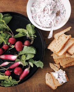 {Radish Dip} Mmm mmm mmm! We'd swap the sour cream in this delicious dip for 0% Plain Chobani.