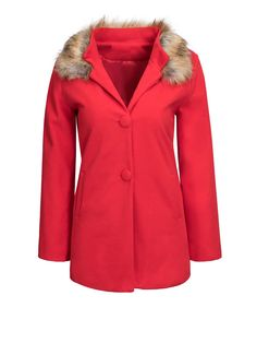 Fur Collar Single Breasted Plain Coat Only $19.95 USD More info...