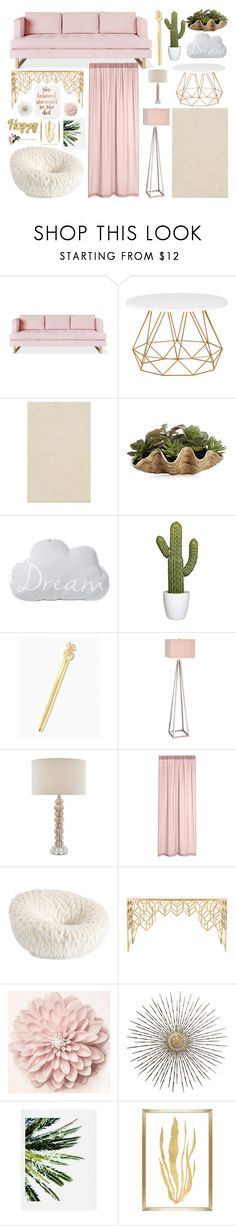 """Simple Living Room"" by kweencupcake08 on Polyvore featuring Gus* Modern, JAlexander, PBteen, Safavieh, DENY Designs, Barclay Butera and living room"