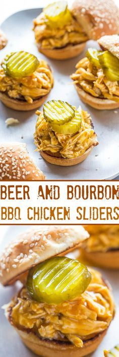 Beer and Bourbon Barbecue Chicken Sliders - Chicken is cooked with BEER and BOURBON before being soaked in BBQ SAUCE!! So juicy, flavorful, easy, and ready in 25 minutes! A guaranteed hit at parties!!