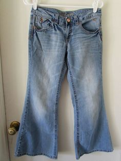 ddde9d2a Justice Jeans Girls 10 1/2 Simply Low Bell Bottom Flare Blue Stonewashed  BOHO #