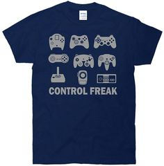 High Quality Custom Printed Tops Hipster Tees T-shirt Control Freak Video Game Funny Gamer T-shirt #Affiliate