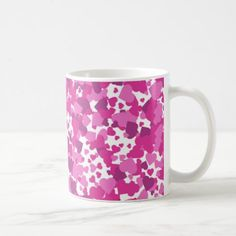 Pink heart pattern on white background coffee mug - patterns pattern special unique design gift idea diy