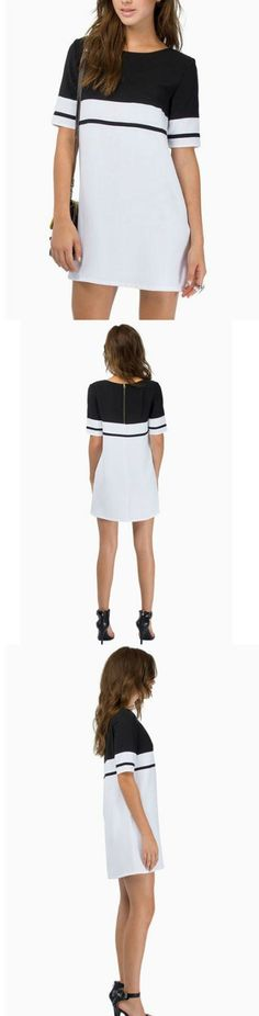 Color Block Straight Female Dress! Click The Image To Buy It Now or Tag Someone You Want To Buy This For. #MiniDress
