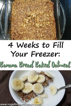 Need a filling, freezer-friendly breakfast? This Banana Bread Baked Oatmeal is healthy and is easily doubled to put in your freezer! #breakfast #oatmeal #freezer #freezermeal #recipe