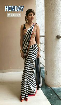Sarees Saree Gown, Sari Dress, Blouse Designs High Neck, Saree Blouse Designs, Indian Attire, Indian Wear, Indian Dresses, Indian Outfits, Black Saree Blouse