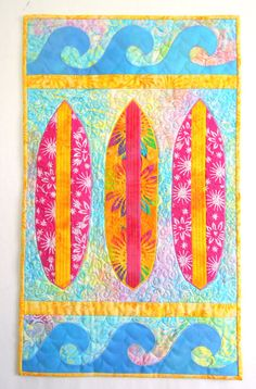 Surfboard I: Quilted Wall Art by SeaQuiltsShop on Etsy