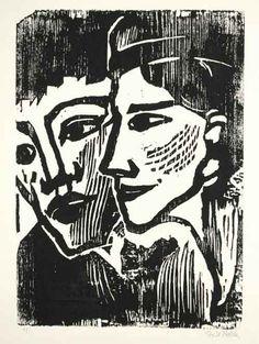 Emil Nolde - DOPPELBILDNIS Woodcut. 1937.