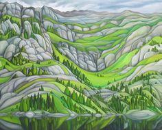 "Deb Gibson, Kandersteg, Switzerland, oil on canvas, 30""x36"". $1800 Abstract Landscape, Landscape Paintings, Abstract Art, Canadian Painters, Canadian Artists, Canvas Painting Designs, Artist Portfolio, Naive Art, Painting Inspiration"