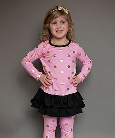 Loving this Pink & Black Polka Dot Drop-Waist Dress - Infant, Toddler & Girls on #zulily! #zulilyfinds
