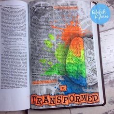 Bible Art Journaling Challenge.  Love how she does this...in a Bible. Adore the idea of being immersed in the Word through creativity.