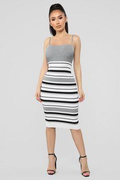 88809bc7a83 Promises Kept Stripe Sweater Dress - Heather Grey Combo