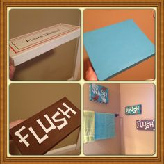 Shoe box turned bathroom art!! 1.cover shoe biz lid with your choice of paper  2. Cricut letters 3. Paint design of your choice
