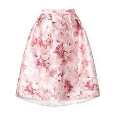 **Luxe Pink Blurred Floral Skirt ($57) ❤ liked on Polyvore featuring skirts, floral print skirt, floral knee length skirt, flower print skirt, floral skirt and pink skirt
