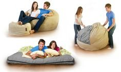 Beanbag chair packed with soft foam includes an insert that transforms it into a bed big enough to accommodate two adults
