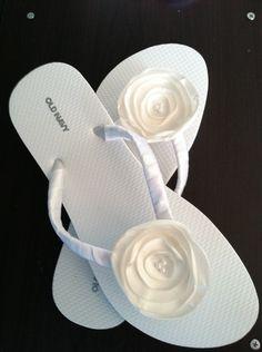 ivory Bridal Flip Flops / Wedding Flip Flops / Design Your Own / Flower Flip Flops / Bridal Flip Flop / Bridal Party Flip Flops. $19.99, via Etsy.