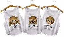Kiwi mono lindo de la historieta impresa Emoji camisa corta Harajuku Kwaii mejores amigos para siempre verano divertido Femme algodón Tops(China (Mainland))