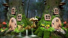 Deep in the forest, there is a little fairyland - landsapes, homes, fairies, trees, waterfalls, windows, houses, doors, fairyland, mushroom house, forest, fantasy