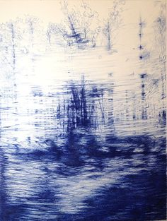 """Linda Newman Boughton(American) Change is in the Air 2015 ballpoint pen on cotton Arches paper 42"""" X 32"""""""