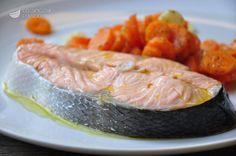 Salmone e carote al vapore