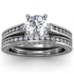 Pave & Channel Diamond Engagement Ring with Matching Band set in 18k White Gold  In stockSKU: S1060SET-18W