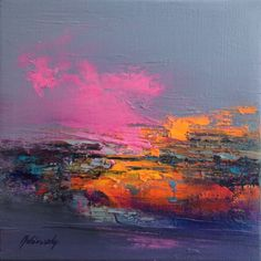 Undiscovered Places - 20 x 20 cm, abstract landscape oil painting, gray, purple, magenta, pink, orange (2016) Oil painting by Beata Belanszky Demko | Artfinder