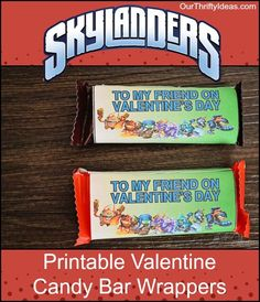 Get these free printables for Skylanders Valentine candy bar wrappers. Such a fun idea from OurThriftyIdeas.com: