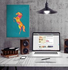#horse #silhouette #animals wild texture stallion digital graphic design splatters teal fire #colorful Animals #metalprint