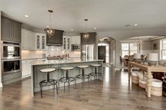 Angled Kitchen Island, Transitional, Kitchen, Benjamin Moore Kendall Charcoal, Gonyea Homes