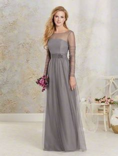 Alfred Angelo Style 8622L: Soft net full length bridesmaid dress with a sheer net yoke, ruched full length sleeves and gathered waistband