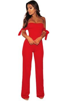Cheap Red Off Shoulder Tie Knot Strapless Jumpsuit only US  8.28 026683040